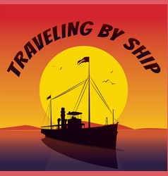 silhouette of cruise ship sails at sunset vector image