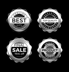 silver premium sale badges set design elements vector image
