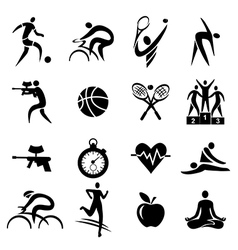 Sport fitness healthy lifestyle icons vector