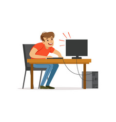 stressed depressed man working with computer bad vector image