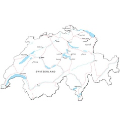 Switzerland Black White Map vector image