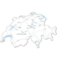 Switzerland Black White Map vector