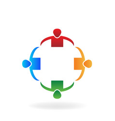 Teamwork business people in circle group vector