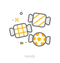 Thin line icons candy vector