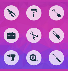 tools icons set with roller brush chainsaw vector image