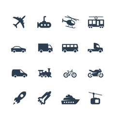 transport icons set side view vector image