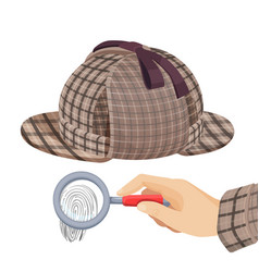 Vintage detective checkered hat and fingerprint vector