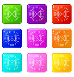 vinyl record icons set 9 color collection vector image