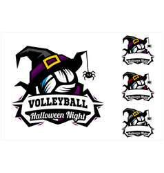 volleyball ball halloween hat logo vector image