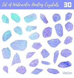 Watercolor gemstones healing crystals vector