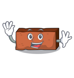 waving brick character cartoon style vector image