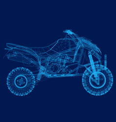 wireframe of the quad of blue lines on a dark vector image