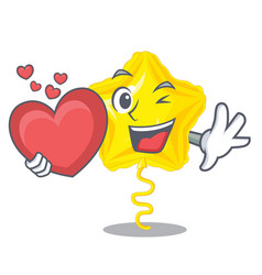 with heart star balloon in the cartoon shape vector image