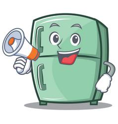 With megaphone cute refrigerator character cartoon vector