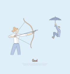 Woman aiming bow with arrow at coworker man vector