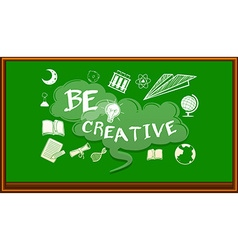 Wording on blackboard saying be creative vector