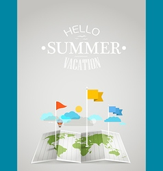 World map with different marks Summer travel vector