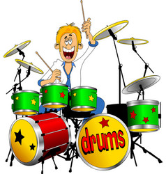 young drummer vector image