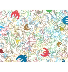background with colorful symbols of euro currency vector image vector image