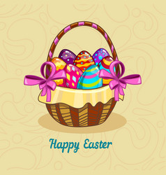 card with easter eggs in a basket vector image vector image