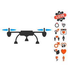 drone icon with love bonus vector image