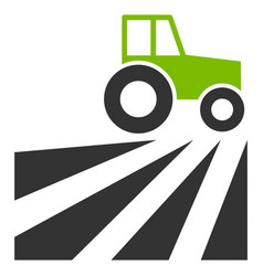 Farm field with tractor flat icon vector