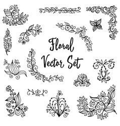 floral set of vintage hand painted vector image vector image