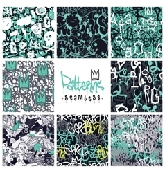 Graffiti seamless patterns set vector image