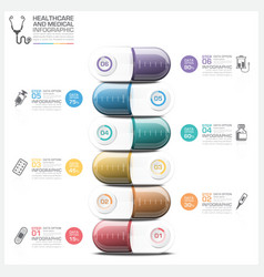 Healthcare And Medical Infographic With Pill vector image vector image