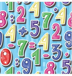 Seamless background with cartoon colored numbers vector