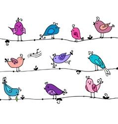 Set of cute birds in vector image vector image