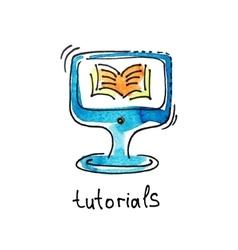sketch watercolor icon of tutorials distance vector image vector image