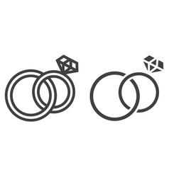 wedding rings line and glyph icon vector image