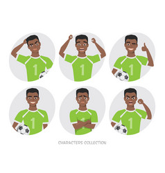 black african american soccer player different vector image