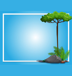 border template with tree and rock vector image