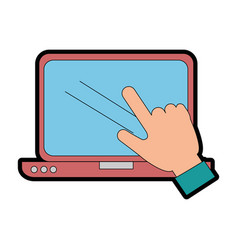 laptop computer with hand user touching vector image vector image