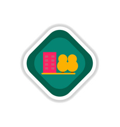 Paper sticker on white background building park vector