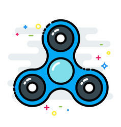 Rotating fidget spinner toy colorful line isolated vector