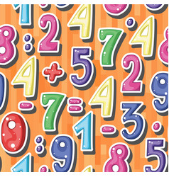 seamless background with cartoon colored numbers vector image
