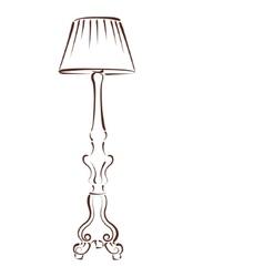 Sketched floor lamp vector image