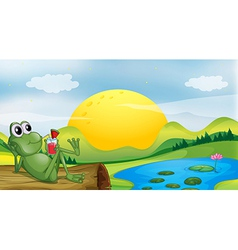 A frog with a glass of juice vector image vector image