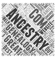 ancestry com genealogy Word Cloud Concept vector image