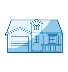 blue shading silhouette facade house with garage vector image