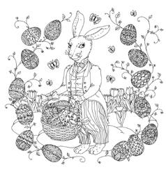 Easter Bunny pfor a coloring book vector image