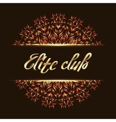 Elite club logo mandala vector image