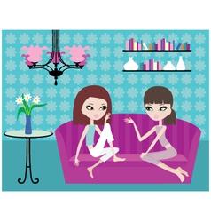 girls talk on sofa vector image