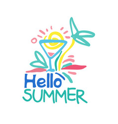 Hello summer logo template colorful hand drawn vector