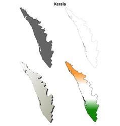Kerala blank detailed outline map set vector image vector image