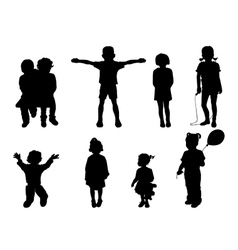 Set of black silhouettes of children vector image