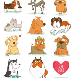 Set of cute dog characters vector